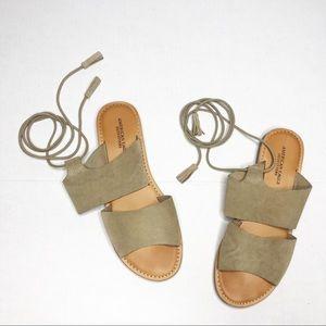 American Eagle Gladiator Lace Up Tassel Sandals